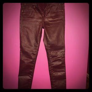 Adriano Goldschmied, waxed  burgundy jeans